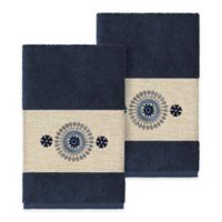 Linum Home Textiles Isabella Hand Towels in Midnight Blue (Set of 2)