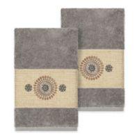 Linum Home Textiles Isabella Hand Towels in Dark Grey (Set of 2)