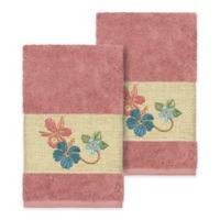 Linum Home Textiles Caroline Hand Towel in Tea Rose (Set of 2)