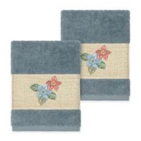 Linum Home Textiles Caroline Washcloth in Teal (Set of 2)