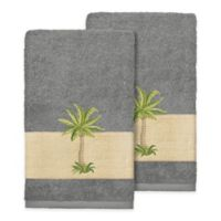Linum Home Textiles Colton Hand Towels in Dark Grey (Set of 2)