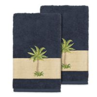 Linum Home Textiles Colton Hand Towels in Midnight Blue (Set of 2)