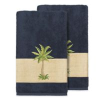 Linum Home Textiles Colton Bath Towels in Midnight Blue (Set of 2)