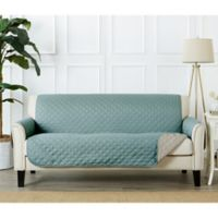 Great Bay Home Kaylee Reversible Quilted Sofa Protector in Blue/Silver