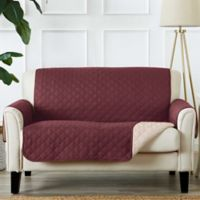 Great Bay Home Kaylee Reversible Quilted Loveseat Protector in Red
