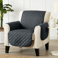 Great Bay Home Kaylee Reversible Quilted Chair Protector in Dark Grey