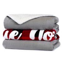 Reindeer Plush Heated Sherpa Throw Blanket in Red