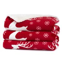 Reindeer Holiday Heated Throw Blanket in Red