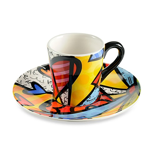Britto™ by Giftcraft A New Day Espresso Cups and Saucers (Set of 2)