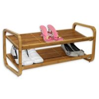 Oceanstar 2-Tier Adjustable Bamboo Shoe Rack in Natural