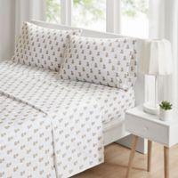 Intelligent Design Novelty Fox Printed Twin XL Sheet Set in Tan