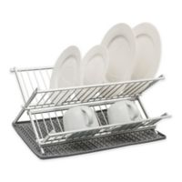 2-Piece Aluminum Folding Dish Rack with Silicone Drying Mat Set in Dark Grey