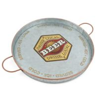 Thirstystone® Beer Galvanized Round Tray with Handles