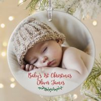 Holly Branch Baby Matte Photo Ornament