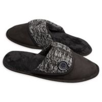 Loft Living Medium Memory Foam Suede Scuff Slipper in Black