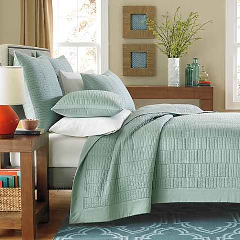 Real Simple 174 Dune Coverlet In Sea Glass Bed Bath Amp Beyond
