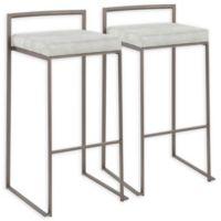 "Lumisource® Polyester Upholstered Fuji 30.75"" Bar Stools in Light Grey (Set of 2)"