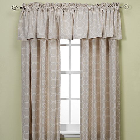 Westport Geo Rod Pocket/Back Tab 95-Inch Window Curtain Panel in Natural