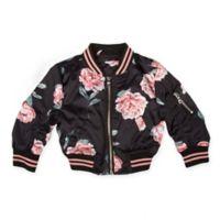 Urban Republic Size 12M Rose Print Sateen Bomber Jacket in Black