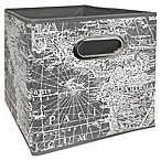 Vintage Map Collapsible Bin in Light Grey Print