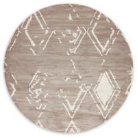 Jill Zarin Carnegie Hill Uptown 8' Round Power-Loomed Area Rug in Light Brown