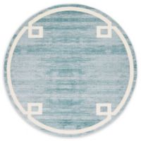 Jill Zarin Lenox Hill Uptown 8' Round Power-Loomed Area Rug in Turquoise