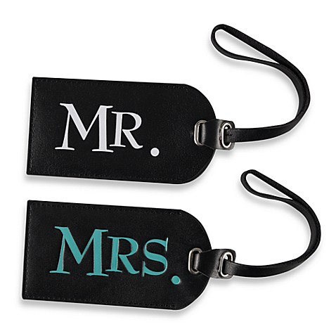 Mr and mrs leather luggage tags bed bath beyond for Mr and mrs spa