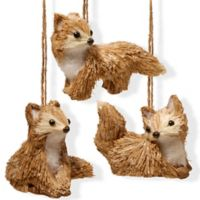 National Tree Company 3-Inch Fox Trio in Brown (Set of 3)