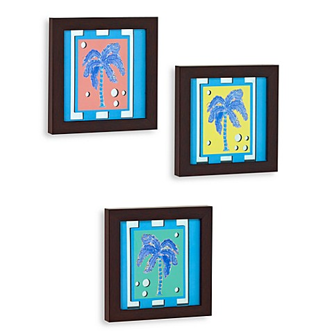Decorative Tropical Palm Tree Wall Art Mirrors (Set of 3)