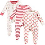 Touched by Nature Size 0-3M 3-Pack Organic Cotton Tulip Sleep and Play Footies in Pink
