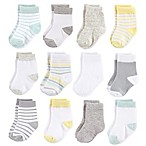 Hudson Baby® Size 0-6M 12-Pack Basic Neutral Crew Socks