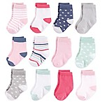 Hudson Baby® Size 0-6M 12-Pack Basic Girl Crew Socks