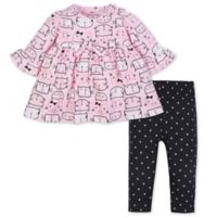 Gerber® Size 4T 2-Piece Cat Dress and Legging Set in Pink/Black