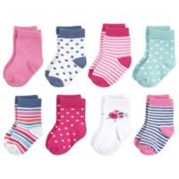 Touched by Nature Size 6-12M 8-Pack Floral Organic Terry Cotton Socks in Pink