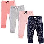 Luvable Friends® Size 9-12M 4-Pack Gold Dots Tapered Pants in Pink