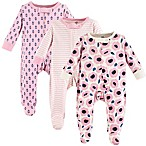 Touched by Nature Size 3-6M 3-Pack Organic Cotton Blossoms Sleep and Play Footies in Pink