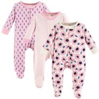 Touched by Nature Size 6-9M 3-Pack Organic Cotton Blossoms Sleep and Play Footies in Pink