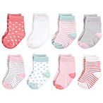 Touched by Nature Size 0-6M 8-Pack Stripe/Diamond Print Organic Cotton Socks in Pink