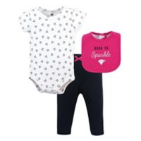 Hudson Baby® Size 6-9M 3-Piece Sparkle Bib, Bodysuit and Pant Set in Pink