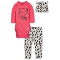 Gerber® Size 6-9M 3-Piece Kitty Layette Set in Pink
