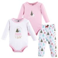 Hudson Baby® Size 18-24M 3-Piece Sparkle Trees Layette Set in Pink