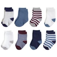 Touched by Nature Size 12-24M 8-Pack Stripe/Solid Organic Cotton Socks in Red