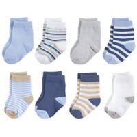 Touched by Nature Size 6-12M 8-Pack Multicolor Stripe Organic Cotton Socks in Beige