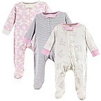 Touched by Nature Size 6-M 3-Pack Organic Cotton Bird Sleep and Play Footies in Pink