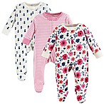 Touched by Nature Size 0-3M 3-Pack Organic Cotton Garden Floral Sleep and Play Footies in Pink