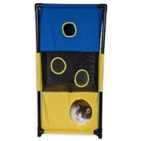 Pet Life™ Kitty-Square Play-Active Cat Tree in Blue/Yellow