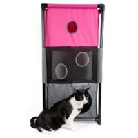 Pet Life™ Kitty-Square Play-Active Cat Tree in Pink/Blue