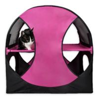 Pet Life™ Kitty-Play Obstacle Travel Collapsible Soft Folding Cat House in Pink/Black