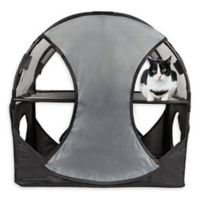 Pet Life™ Kitty-Play Obstacle Travel Collapsible Soft Folding Cat House in Grey/Black