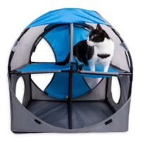 Pet Life™ Kitty-Play Obstacle Travel Collapsible Soft Folding Cat House in Blue/Grey